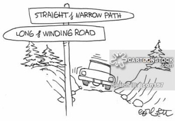 Road signs: straight & narrow..long & winding.